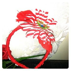 Cute Red Flower with White Strips Headband